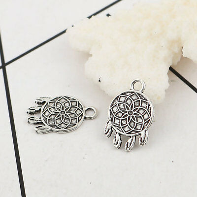 SC3657 12 Feather Charms Antique Silver Tone
