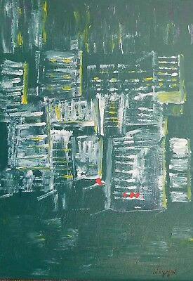 Green City Abstract Painting,   Acrylic on Stretched Canvas, Signed