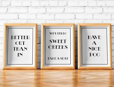 Have a nice poo, why hello sweet cheeks, better out than in, three print set