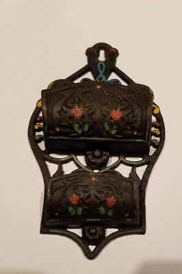 Antique WILTON DOUBLE WALL POCKET MATCH HOLDER Cast Iron Hand Painted Colorful