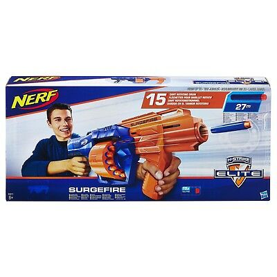 NEW Nerf N-Strike Elite Surgefire Blaster Toy Gun Including 15 Nerf Darts Ammo