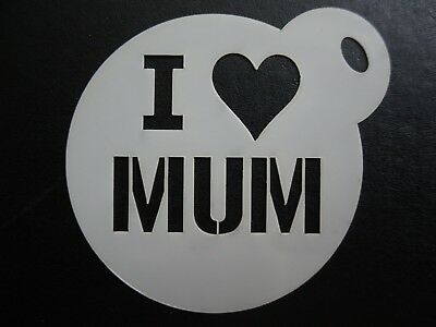 Laser Cut Small I Love Mum Design Cake Cookie Craft Face Painting