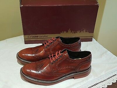 3d9aa744cbaa7 Base London Woburn Hi Shine Tan Leather Mens Formal Brogue Casual Shoes  Boots 6s