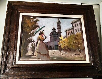 """Original Painting On Canvas Signed By Scotti - Victorian 24""""x19.5"""" Wooden Frame"""