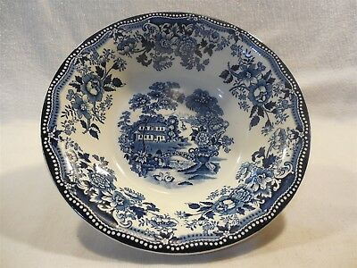 Vintage Clarice Cliff Staffordshire Tonquin Blue Round Vegetable Serving Bowl