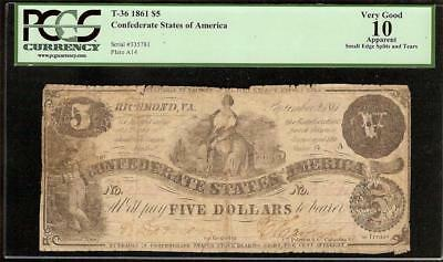 1861 Confederate States of America $5 Five Dollar Bill Civil War Note PCGS VG 10
