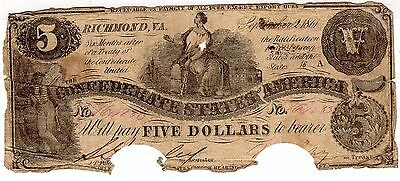 1861 Confederate States of America $5 Five Dollar Bill Civil War Currency Note!