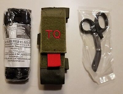 **NEW** USGI CAT NAR Tourniquet + Trauma Shear+ Green Molle Pouch