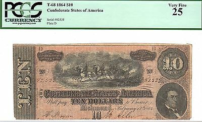 1864 Confederate States of America $10 Ten Dollar Bill Currency Note - PCGS 25
