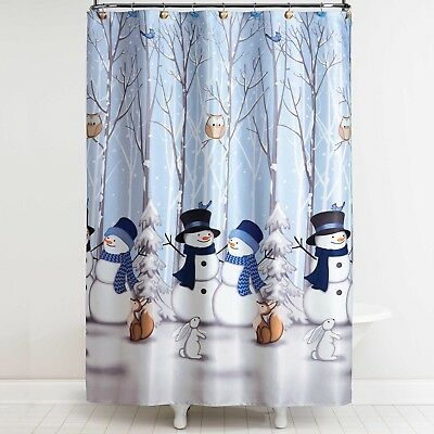 Bed Bath Beyond Winter Holiday Snowman Friends Owl Bird Shower Curtain Hooks