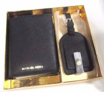 f05a6d005196 Michael Kors Boxed Gift Set Passport Case Luggage Tag Black Leather NWT  105