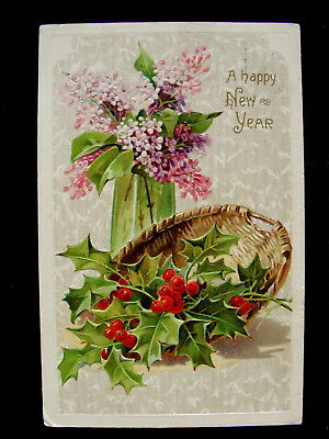 Holly in Basket Lilacs in Green Vase New Year Embossed Postcard