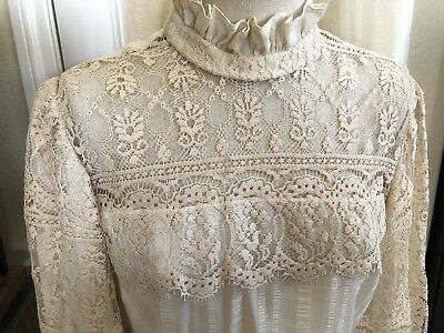 Vtg 70s Joy Stevens Off-White Country Sz 14 Lace Skirt Blouse NWT Dress Wedding