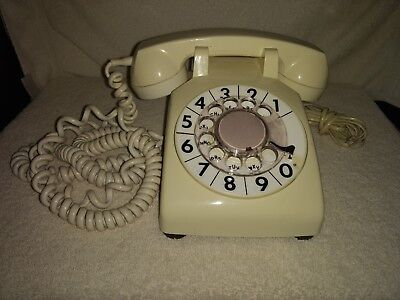 Vintage White Rotary Telephone Bell System By Western Electric With Long Cord