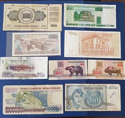 Nice old 9 Bank Note Currency Money No Reserve lot bundle mix world collector a5