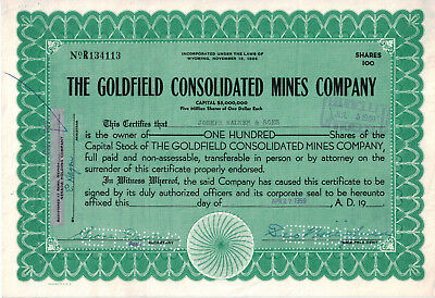 Goldfield Consolidated Mines Co. Stock Certificate 100 share Goldfield Nevada NV