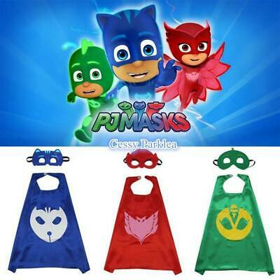 J4-1 Kids Teenage Adult PJ Masks Cape & Mask Superhero Costume Accessory