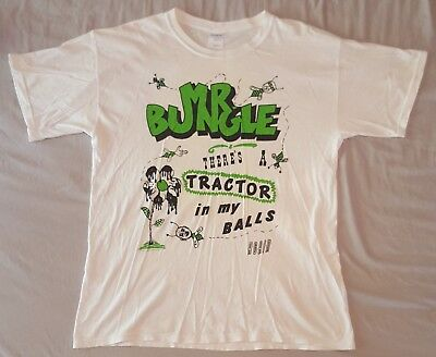 MR BUNGLE - Tractor In My Balls Print - White Short Sleeve T Shirt - Size Large