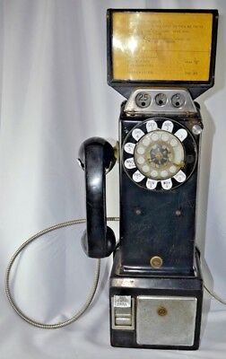 Vintage 1950's-1960's North. Pacific Rotary Dial Pay Phone Three Slots -Working