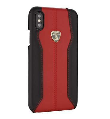 Lamborghini Huracan-D1 Red Leather Back Cover for iPhone Xs Max (6.5)