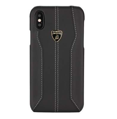 Lamborghini Huracan-D1 Black Leather Back Cover for iPhone Xs Max (6.5)