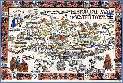 24x36 Vintage Reproduction Historic Map Watertown New York Jefferson County 1891