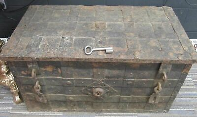 Antique Armada Chest 17th Century Iron bound Metal  Large  Original trunk