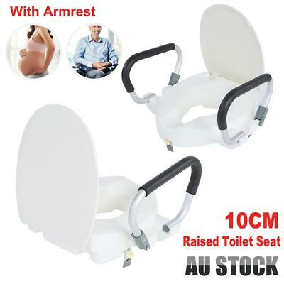 AU 10cm Raised Toilet Seat With Lid Removable Arms For Disability Eldly Pregnant