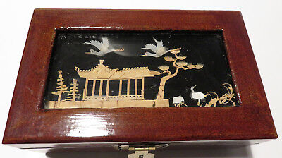 Vintage Wooden Chinese Jewellery Box Cork Diorama Crane Inlay Collectable
