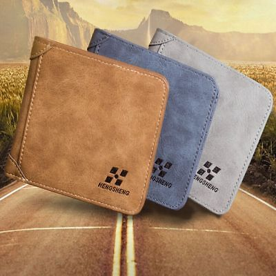 Men PU Leather Portable Bifold Purse Wallet ID Credit Card Holder Coin Pockets