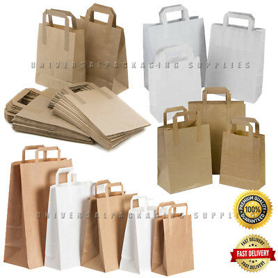 Food Carrier Bags Brown & White Kraft Paper SOS Flat Handles Party Takeaway Gift