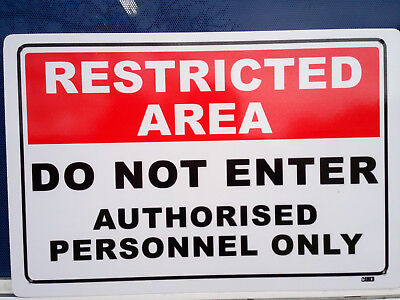 Restricted Area Staff Only Metal Safety Sign 300x450mm Fast Delivery