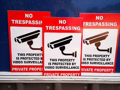 No Trespassing Private Property Pack 3 Corflute Sign 300x225mm Fast Delivery