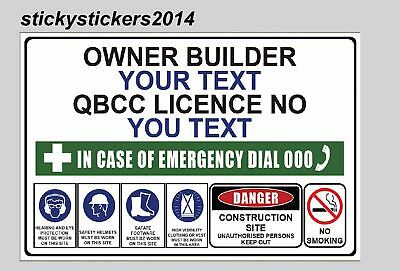 Corflute Construction Site Safety Sign Owner Builder  600Mmx450Mm -3Mm Fast Post