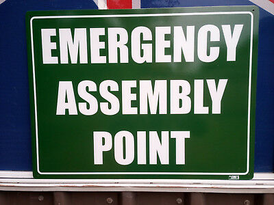 Emergency Assembly Point Metal Safety Sign 600x450mm Fast Delivery