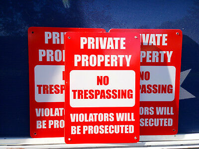 No Trespassing Private Property Pack3 Metal Safety Sign 300x225mm FastDelivery
