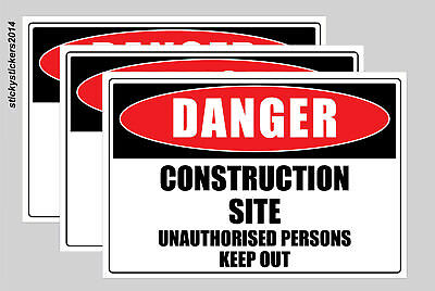 Danger Construction Site Pack of 3 Metal Safety Sign 300x225mm Fast Delivery