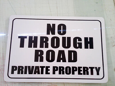 No Through Road Private Property Metal Safety Sign 300x450mm Fast Delivery