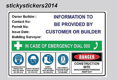 Construction Sign Owner Builder Corflute Building Site 600X450Mm - 3Mm Fast Post