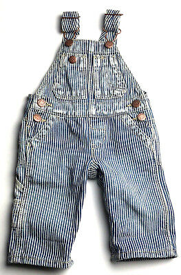 VTG Oshkosh B'Gosh Vest Bak Railroad Striped Overall Pants Size 3 Mons