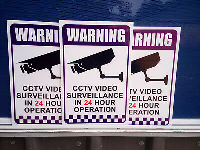 3 Pack Warning CCTV Security Video Surveillance Camera 200x300mm CORFLUTE SIGN