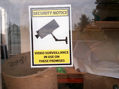 Internal Sticker Pack (4) Warning CCTV Security Video Surveillance Cam 250x180mm