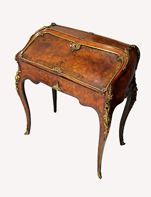 A Stunning Quality English Burr Walnut And Kingwood Ormolu Mounted Bureau Desk