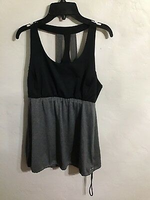 f207c2d6b6a08 CHAMPION BLACK GRAY Loose Exercise Top Built in Bra Women s Size ...