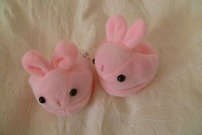Baby clothes GIRL premature/tiny<5-7.5lb/2.3-3.4kg slippers/bootees pink rabbits