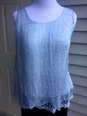 950ae16520 NWT Carla Conti 100% baby blue silk sleeveless blouse size M Made in Italy
