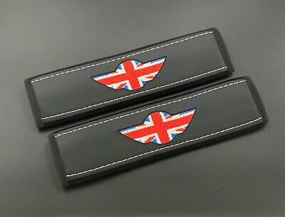 Mini Cooper Seat Belt Pads Covers Embroidery colours of the British flag 2PCS