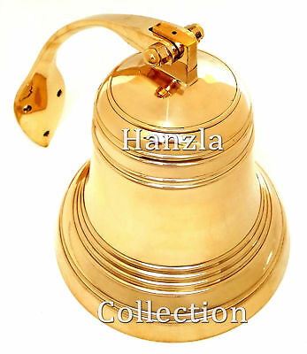 "5"" Brass Polished Door Ship Bell Nautical Wall Mounted Bracket Hanging Bell"