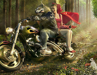 A3 Funny Poster - Little Red Riding Hood & The Big Bad Wolf on a Motorbike
