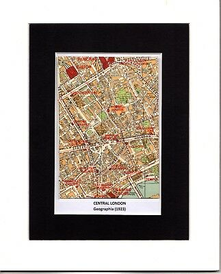 MAP ~ CENTRAL LONDON Charing Cross KING'S CROSS Etc. GEOGRAPHIA ~ Mounted 1923